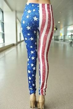Sexy High Waisted Patriotic USA AMERICAN FLAG Stars Pride Pants Leggings New o/s #OTHER