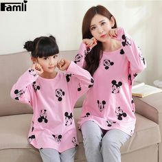 f6cf3585b7 Avaliable now 2017 Christmas Pajamas Family Look Mickey Girls Pyjamas Kids  Long Sleeve Matching Mother Daughter Clothes Cotton Clothing Set