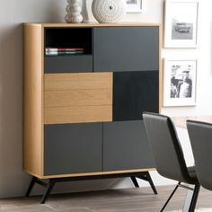 This is the sideboard I have ordered. Need to marry this to the table with the chairs, so think dark grey, oak and/or maybe black.