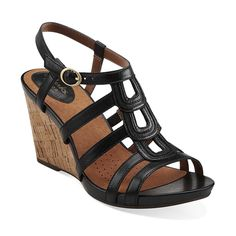 Kyna Wise in Black Leather - Womens Sandals from Clarks