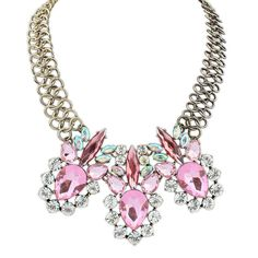Jazsmin Adorable Gem Necklace £12.00  This classy necklace will make you the centre of attention in any room. The unique triple loop chain alone is feminine and sophisticated, perfectly balancing with the giant pink gemstones. An intricate pair of dangly earrings would compliment the necklace yet further, although it's a statement piece of it's own.