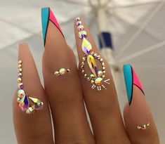 Nail art has become one of the best extras you could add … Snowflake Nail Design. Nail art has become one of the best extras you could add to your look. Glam Nails, Hot Nails, Bling Nails, Beauty Nails, Rhinestone Nails, Fabulous Nails, Gorgeous Nails, Pretty Nails, Best Acrylic Nails