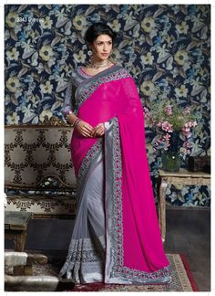Spectacular resham-jari work border with kundan are tuneful on this magenta-gray saree. This all blend to make an amazing designer saree specially for occasion/party wear.