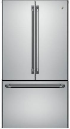 GE CWE23SSHSS 36 Inch Counter Depth French Door Refrigerator with 23.1 cu. ft. Capacity, 4 Split Adjustable Glass Shelves, Gallon Storage, Electronic Temperature-Controlled Drawers, LED Lighting, TwinChill Evaporators and Advanced Internal Filtered Water Dispenser