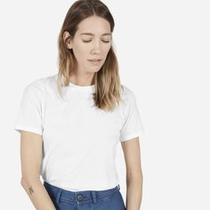 This boyish crewneck tee is a true gamine classic  100% cotton Fabric is a lightweight Supima cotton Features a crew neck and slim short sleeves Made and milled in Los Angeles Machine wash cold, tumble dry low