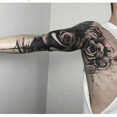 black rose sleeve tattoo
