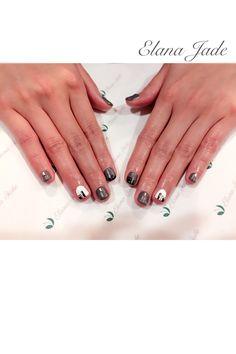 Fun / funky nail design - grey, white ハンド ハンドネイル ハンドジェル ホワイト グレー モノトーン モード系 マット カルジェル calgel