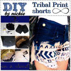 DIY Tribal Print Shorts DIY clothes DIY Refashion