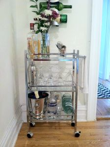 DIY Mini Bar Cart. Perfect for a small apartment. Just transform an inexpensive bathroom caddy!