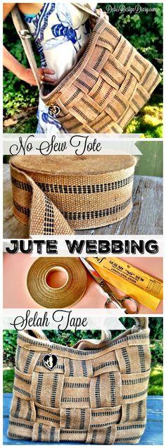 Jute Webbing No Sew Tote Bag! #sewing #DIY #totebag #handmade