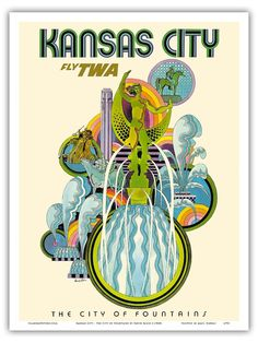 Kansas City Missouri USA Fountains TWA Vintage Airline Travel Art Poster Print #Vintage