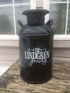 ***Use coupon code PIN10 for 10% off!***Personalized Family Name Decal for Milk Can, Front Door or other Front Porch Decor by Impressivecreation on Etsy