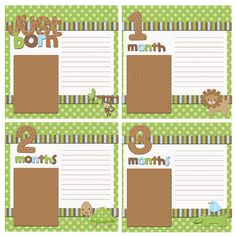 Baby Scrapbook Pages fits 8x8 photo album - Made to match monthly onesie stickers - Safari Adventure - 13 pages. $20.00, via Etsy.