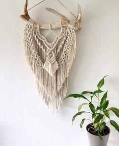 FAWN - Large Macrame Antler wall hanging / Bohemian Macrame wall hanging / Macrame / Boho home / Home Decor / Vintage style / Boho Wedding #ad
