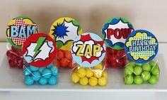 Superhero birthday favors