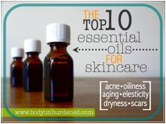"""The top 10 essential oils for skincare \\ """"The following ten essential oils help remedy a number of skin conditions (well, if you're buying good quality EOs, that is) — from acne to aging, dryness to oiliness. And when combined with the right carrier oils (be sure to see the important essential oil guidelines at the end of the post), you will see absolutely amazing results."""" - Body Unburdened \\ #greenbeauty #essentialoils"""