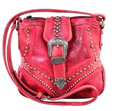Montana West~Western~Tooled~Buckle~Studs~Conceal Carry~Cross Body Bag~Purse~Red #MontanaWest #MessengerCrossBodyShoulderBag