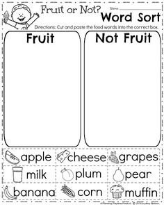 FREE Spring Worksheet for First Grade - Sorting Words into Categories. Fruit or Not