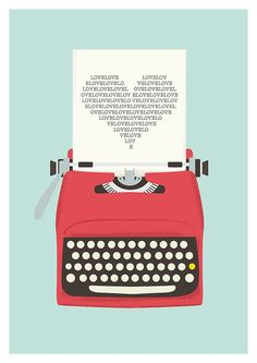 Vintage typewriter poster, mid century art, Retro print, heart print, words, pop art, posters with typewriters  A3. $22.00, via Etsy.: