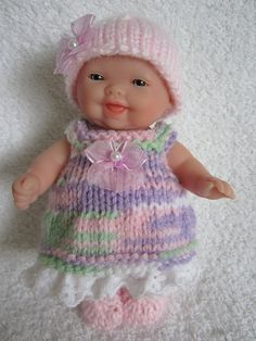 Knit Baby Doll Clothes Berenguer Springtime Lilac Mix by WeGirls Baby Doll Clothes, Crochet Doll Clothes, Knitted Dolls, Doll Clothes Patterns, Doll Patterns, Tiny Dolls, Ag Dolls, Cute Dolls, Bazaar Ideas
