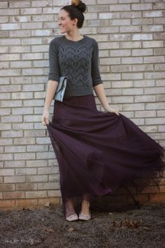 How to repurpose, reuse, rework an old bridesmaid dress. Grey sweater | Plum bridesmaid dress | eggplant maxi skirt | nude bow tie flats | high sock bun | Bless Her Heart Y'all | www.blessherheartyall.com
