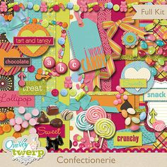 Confectionerie Digital Scrapbook Kit by quirkytwerp on Etsy