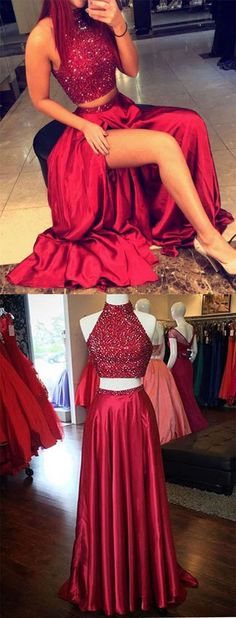 Two Pieces Prom Dresses, Red Prom Dresses,Long Evening Dresses,Sexy Evening Dresses, 2 Pieces Party Dress