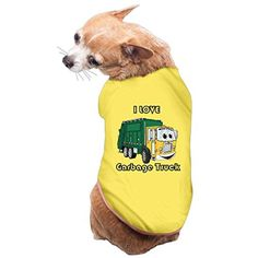 I Love Garbage Truck PET SHIRT Dog T SHIRT Large Yellow - Brought to you by Avarsha.com
