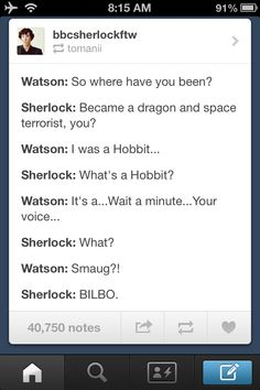 Sherlock/The Hobbit/Star Trek Into Darkness crossover - gotta love 'em