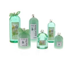 Aloe Vera -- Easy to make fragrance bottle kit for your bathroom or shop.  The kit includes 6 bottles, 2 pre-tied bows, pretty labels and glass bead tops with a Swarovski crystal.