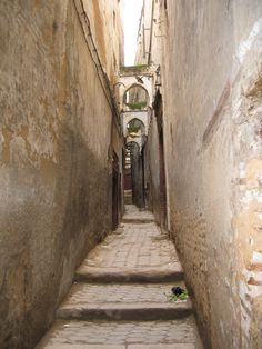 One of the many narrow walkways in the Medina (the old town). Some of the walkways are so narrow you have to turn you body sideways to walk through.  Fez, MOROCCO.
