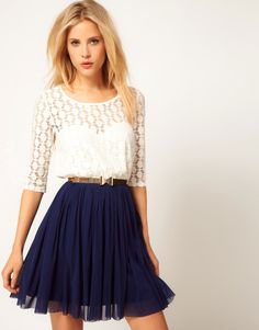 Image 1 of ASOS Skater Dress With Spot Lace & Mesh Skirt