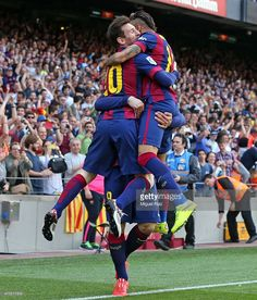 Luis Suarez of FC Barcelona celebrates with his team-mates Lionel Messi and  Neymar after 2d4915b16
