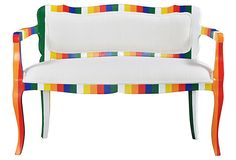 "Melrose Bench  Made of:frame, mahogany; cushion, cotton/foam fill; webbing  Size:43""W x 21""D x 33""H; seat height, 17""  Color:white/yellow/orange/ red/blue/green"