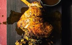 Lamb with ginger stuffing and cider