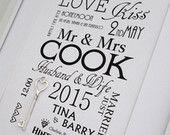 Large Silver Lucky Key Wedding Print , Personalised Word Art . Gift Keepsake Marriage Mr Mrs Love Anniversary