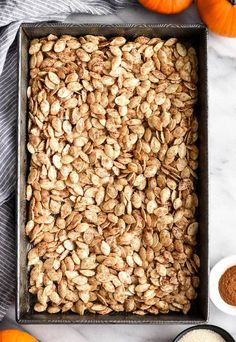 Homemade Roasted Cinnamon Sugar Pumpkin Seeds Recipe! Don't throw away the seeds when you carve pumpkins this year! Save them and make this recipe for the perfect sweet and salty fall snack! Vegan, gluten-free and dairy-free! and paleo-friendly! #pumpkin #pumpkinseeds #homemade #healthy #recipe #glutenfree #dairyfree #vegan #cinnamonsugar #paleo Cinnamon Sugar Pumpkin Seeds, Pumpkin Seed Recipes, Easy Halloween Snacks, Fall Snacks, Halloween Ideas, Gourmet Recipes, Crockpot Recipes, Baking Recipes, Perfect Pumpkin Seeds