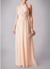 Peach beaded top spaghetti strap chiffon prom dress. #prom #peach #chiffon #beaded #spaghettistrap #promdress #nighttoshine #prom2018 #adeavabridal