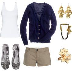 Khaki and navy, created by kimbeekay.polyvore.com