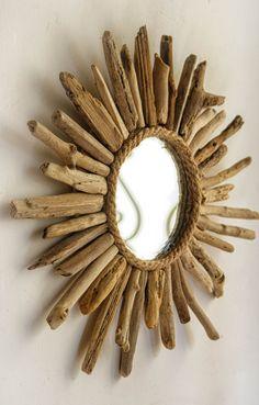 Sunburst Driftwood Mirror, Beach House Style Mirror, Handmade Mirror, Accent Mirror, Small Mirror