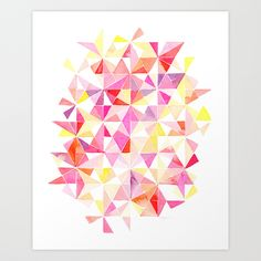 Watercolor Kaleidoscope of Triangles Art Print by Yao Cheng Design   Society6