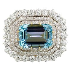 TIFFANY & CO. Victorian Aquamarine Diamond Platinum Brooch