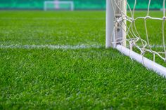 Soccer field with green grass. Football goal on stadium arena. by otaraev74