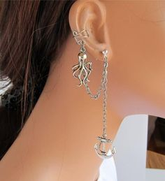 I found 'Ear Cuff With Chain And Silver Octopus and Anchor' on Wish, check it out!