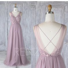 Bridesmaid Dress Dark Mauve Tulle V Neck Illusion Lace Wedding Dress,Open Back Long Prom Dress,A Line Criss Cross Back Maxi Dress (LS349)