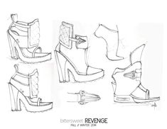 Fashion Sketchbook - footwear drawings; shoe illustrations; fashion portfolio // Sara Jaramillo