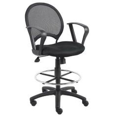 Boss B16217 Mesh Drafting Stool with Loop Arms by BOSS. $120.29. Open mesh back with solid metal back frame with ballistic nylon wrap. Breathable mesh fabric seat with ample padding. 25-inch nylon base. Hooded double wheel casters. Pneumatic gas lift seat height adjustment. 20-inch diameter chrome footring. Loop arms.