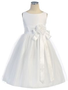 White Vintage Satin and Tulle Dress