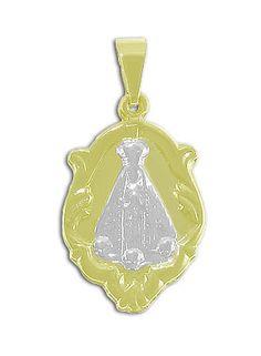 Medalha de N. Sra. Aparecida folheada a ouro c/ aplique prateado  www.imagemfolheados.com.br/?a=17212