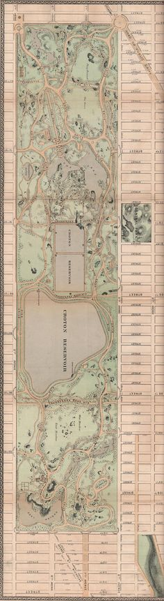 1868 Beautiful Central Park map.